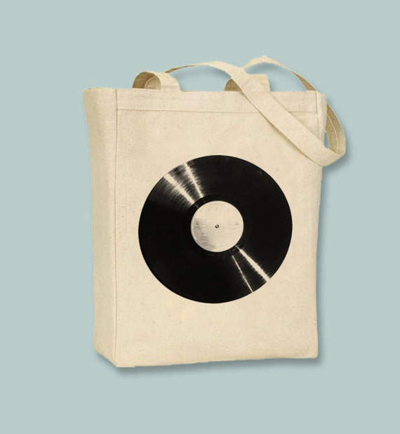 Vinyl Record Album Image Canvas Tote - Selection of sizes- colors available