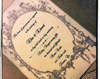 Gothic Vintage Inspired Wedding Invitation suite