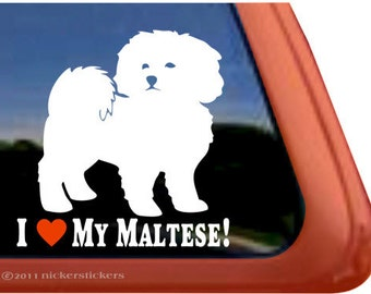 I Love My Maltese! | DC765HEA | High Quality Adhesive Vinyl Maltese Window Decal Sticker