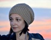 Ursula Crochet Hat Winter Crochet Beanie Women Warm Hat Camel Beige Stylish Cap - KH0007