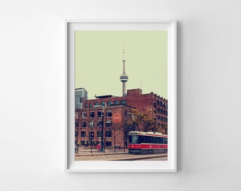 Toronto Art CN Tower, Spadina Streetcar and Hotel Ocho - Canadian Retro Style Toronto Photography Fine Art Print