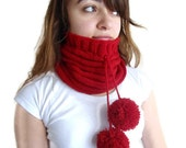 unisex, Red neckwarmers,Hat, Beanie, autumn, wool, hand-knitted,fashion,gift, valentines day,men, women