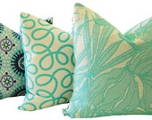 Oudoor Pillows - Turquoise Pillow - Decorative Pillow - Sunbrella Pillow - Square Pillow - Indoor Outdoor Pillow - Outdoor Toss Pillow