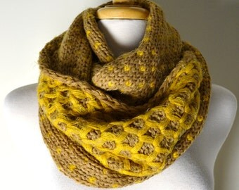 SUPER SALE 18.00 Mustard Yellow Chunky Knitted Woven Pattern Double Sided, Reversible, Infinity Scarf,  Loop Circle Scarf Women's Snood Cowl