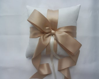 Ring Bearer Pillow Ivory Ring Pillow with Champagne Satin Ribbon