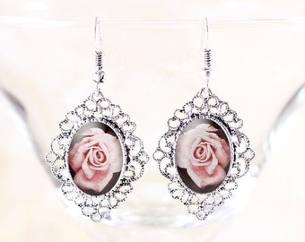 Pink Rose Earrings - Cottage Chic Earrings, Victorian Bridal Jewelry, Dangle Earrings Silver, Victorian Rose Jewelry, Silver Flower Jewelry