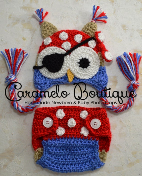 Baby Boy Pirate Owl Outfit Set: Owl Pirate Hat and Diaper Cover-Baby Boy Photo Props-Newborn Photo Props-Newborn Pirate Owl Hat-Crochet Owl