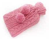 Knitted Hot Water Bottle Cover in Dusky Pink. Hot Bottle Cover Blush Rose Pink Fleck Aran Cable Hot Water Bottle. Snuggle Cosy Warmer Large