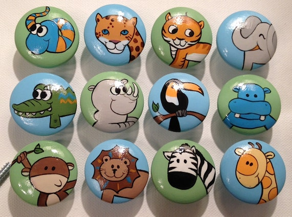 Animal Drawer Pulls / Dresser Knobs / Closet Handles / Hand Painted for Boys, Girls, Kids (Blue/Green Background)