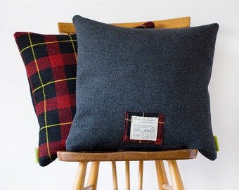 SALE Tartan Cushion COVER, Grey Wool Plaid Pillow, Mid Century Vintage Gannnex Limited Edition, British Decor -Yorkshire England Traditional