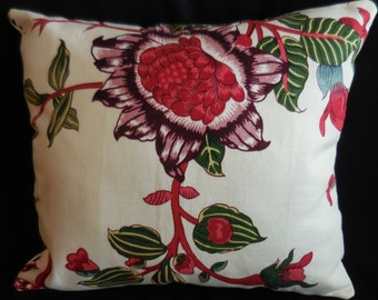 Beautiful Large Flower Plum & Red Linen Pillow (#1317)