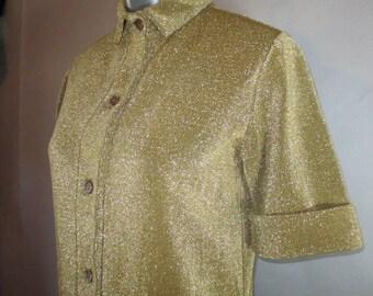 1970's RUDI GERNREICH Metallic Harmon Knitwear MOD // Shift Dress // Designer Dress