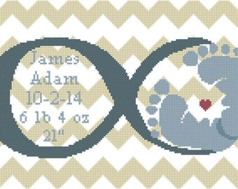 Baby Birth Record Cross Stitch Pattern Infinity Love Symbol with Baby Feet and Chevron Background
