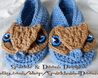 Owl Slippers, Brown Owl Blue Eyes, Made to Order, Trifles & Treasures