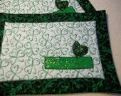 Irish at heart!!  Mug Rugs  Green, White and Black