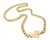 Huge Vintage Gold Tone Box Chain Link Necklace - Large, Bold, Heavy