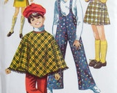Vintage Poncho Cape Pattern with Bell Bottom Suspenders Pants and Skirt 1960s Simplicity 8425 child's sz 6