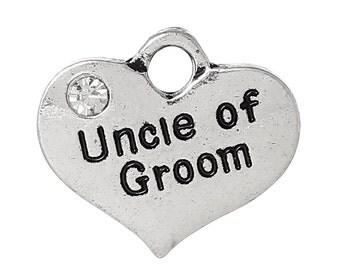 "1 Silver Tone Rhinestone "" Uncle of Groom "" Heart Charm Pendants 16x14mm (5/8""x1/2"") chs1653a"