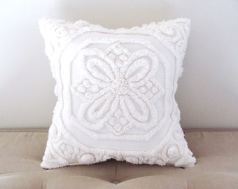 Ivory chenille handmade pillow cover, 14 X 14 inches, BUTTERFLY WINGS, off white pillow case, shabby cottage chic ivory cushion cover