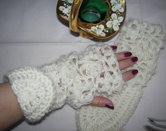 MADE TO ORDER Handmade crochet off white fingerless lace gloves/armwarmers women  accessories /Christmas gift idea for her by goldenyarn