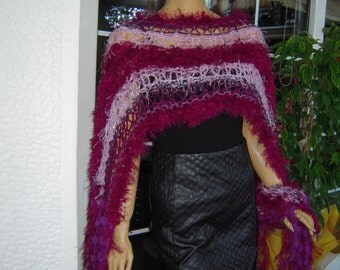 scarf handmade knitted in magenta /bohemian wrap with tassels ready to ship gift idea for her all season women accessories by goldenyarn