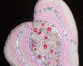 Valentine heart bead embroidered necklace pink and crystal metal free