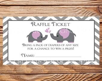 Elephants Diaper Raffle,Purple Elephants Diaper Raffle Tickets, Purple, Gray, As is, instant download - 1PDF 8.5x11, 1259, 1402