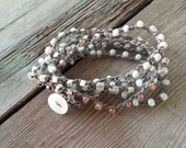Bead Wrap Bracelet, Hand Crochet, Pale Mint and Silver Tones