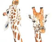 Giraffe watercolor painting. 5 by 7 print - PRINT of watercolor painting