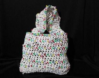 Beaded Crochet Plarn Purse - Repurposed Plastic - Flat handles - Lined