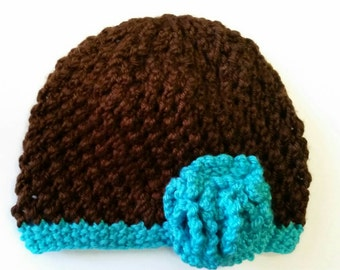 Hand Knit Baby Flower Hat Lace For Fall 3 to 6 Mos.