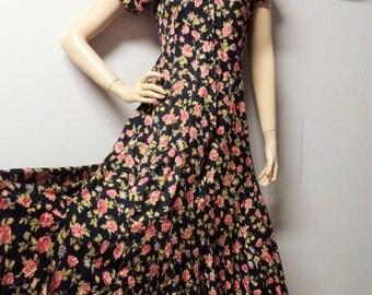 Vtg 90's Lace  trim floral MAXI Dress BOHO Festival Sz  Small