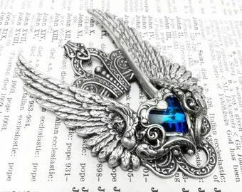 Valkyrie Aged silver plated brass filigree pendant Fantasy mythology inspired jewelry Vintage victorian steampunk gothic style
