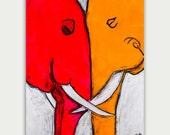 Colorful Figure Elephant Art, Abstract Animal Painting, Acrylic On Canvas, Home decor, Wall decor