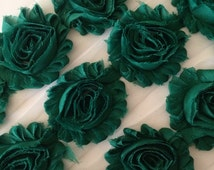 "Dark Hunter Green Shabby Rose Trim 2.5"" Shabby Flowers Shabby Chiffon Flowers Solid Shabby Chic Trim Wholesale Rosette trim 6cm  yard #712"