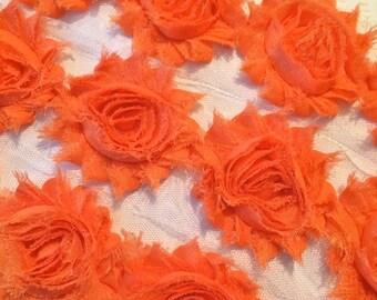 "Orange Shabby Rose Trim 2.5"" Shabby Flowers Shabby Chiffon Flowers Solid Shabby Chic Trim Wholesale Rosette trim 6cm 1 yard #206"