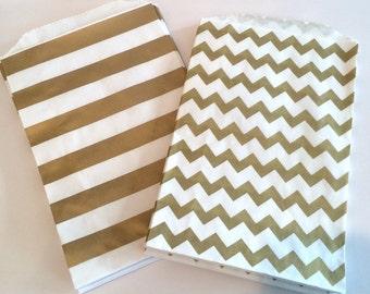 Party Favor Bags - Gold Metallic Chevron or Stripe Printed Paper Treat Bags - Bakery Bags 7x5 medium size wedding favor bags (12 pcs)