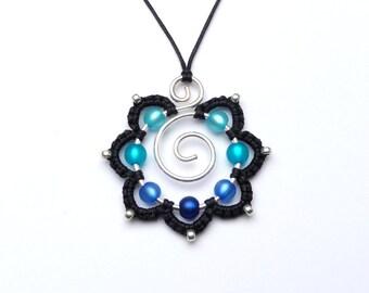 Macrame Necklace BLUE TURQUOISE Mandala Flower Pendant Silverwire Wirework Colorful Eyecatcher Blossom  Statement Silver Swirl Spiral Spirit