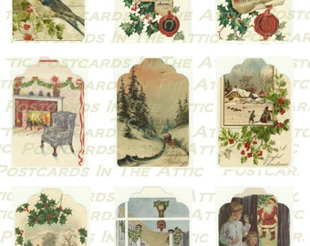 Christmas Gift Tags - 9 Old Fashioned Holiday Images -  PRINTABLE DOWNLOAD - Digital Designed Art - Gift Wrap - Accessories - Embellishment