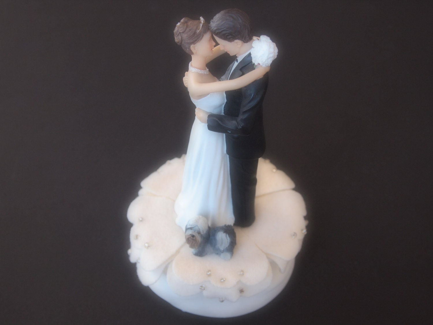 wedding cake toppers bride groom and dog cake topper wedding ivory and groom shih tzu 26422