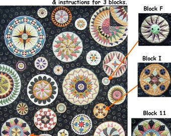 Lots of Dots BOM - Month 8. Patterns and instructions for three blocks as pictured.