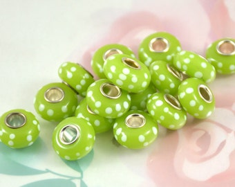 5beads 6Beads 10Beads Large Hole 4.5mm Charm Rondelle oliven white dot Lampwork Handmade Glass Beads 7mmx13mm Glass Gemstone Beads