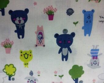 Cute animals, off-white, fat quarter, pure cotton fabric