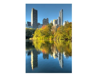 New York Photograph, Central Park Pond, Autumn, Fall Foliage, Reflection, Blue, Yellow, Gold, Skyscrapers, Art Print, Home Decor, Manhattan