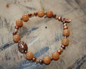 Aventurine, pearl and glass bracelet