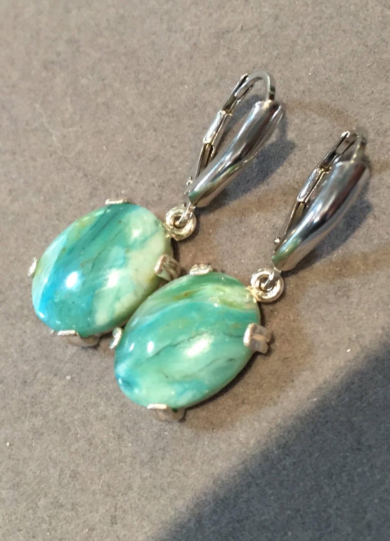 peruvian opal silver earrings genuine blue green opal