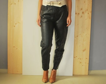 Vintage 80's black leather pants  High Waisted Leather pants Black Pants