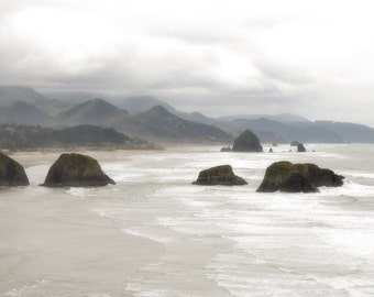 Ocean Photography Print 12x18 Fine Art Oregon Pacific Northwest Cannon Beach Mountain Clouds Spring Landscape Photography Print.
