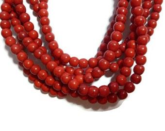 Cherry Red Howlite - 6mm Round - Full Strand - 70 beads