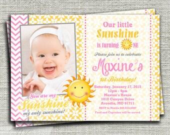 Sunshine Birthday Invitation, You Are My Sunshine Birthday Invitation, 1st Birthday Party Invitation- Printable DIY